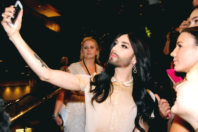 Eurovision winner Conchita Wurst with a fan at the 2015 Logie Awards, Melbourne, Australia - Photographed by Whitney Duan