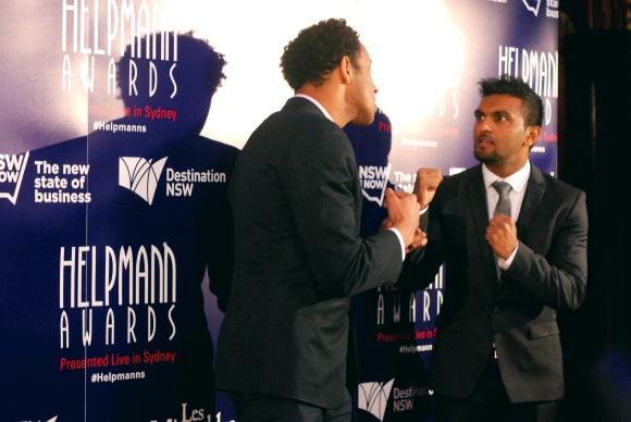 Nazeem Hussain and Matt Okine at the 2015 Helpmann Awards, Capitol Theatre, Sydney - Photographed by Whitney Duan