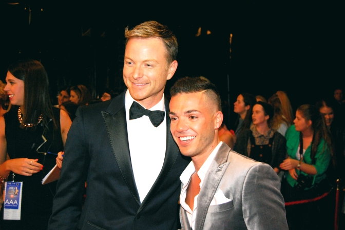 Singer Anthony Callea and actor Tim Campbell at the 2015 Logie Awards with Eden Caceda, Melbourne, Australia - Photographed by Whitney Duan